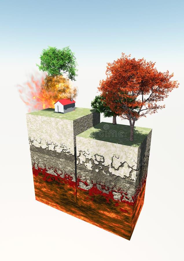 Aardbeving en 3d aardesectie royalty-vrije illustratie