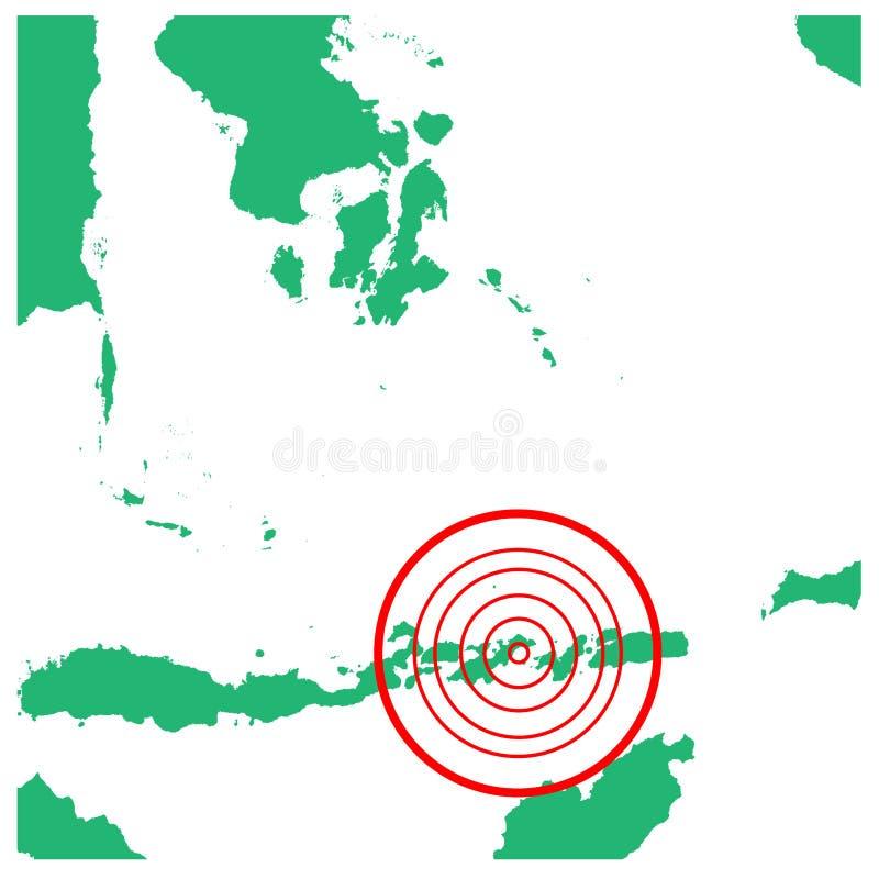 Aardbeving en tsunami in lembata flores, Indonesië met de illustratievector van het cirkelgetroffen gebied vector illustratie