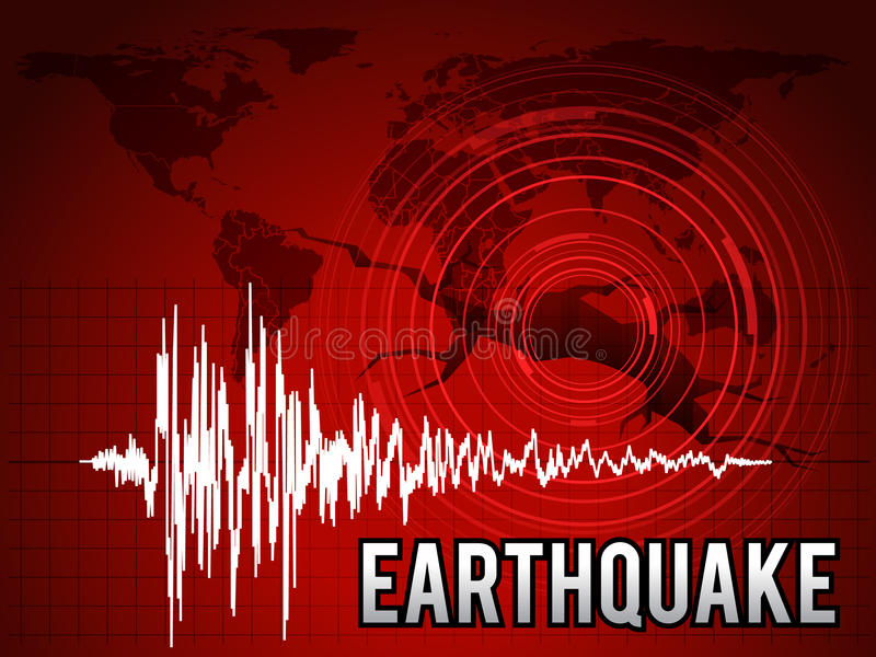 Aardbeving - frequentiegolf, de cirkelgolf van de kaartwereld en ontwerp van de de toonkunst van de barstvloer het vector rode royalty-vrije illustratie