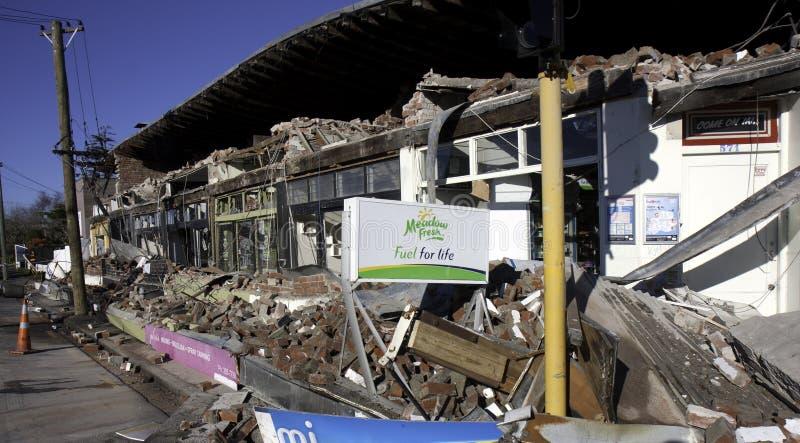 Aardbevings 4 Sep 2010 van Christchurch stock afbeeldingen
