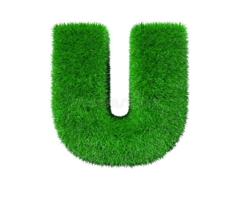 Aardconcept - brievenu van groen die gras wordt gemaakt op witte achtergrond wordt geïsoleerd - 3D illustratie van symbolen dat stock illustratie