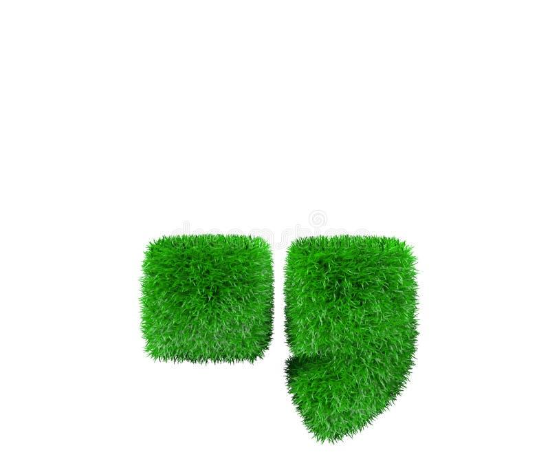Aardconcept - periodepunt en komma van groen die gebladerte wordt gemaakt op witte achtergrond wordt geïsoleerd - 3D illustratie  vector illustratie