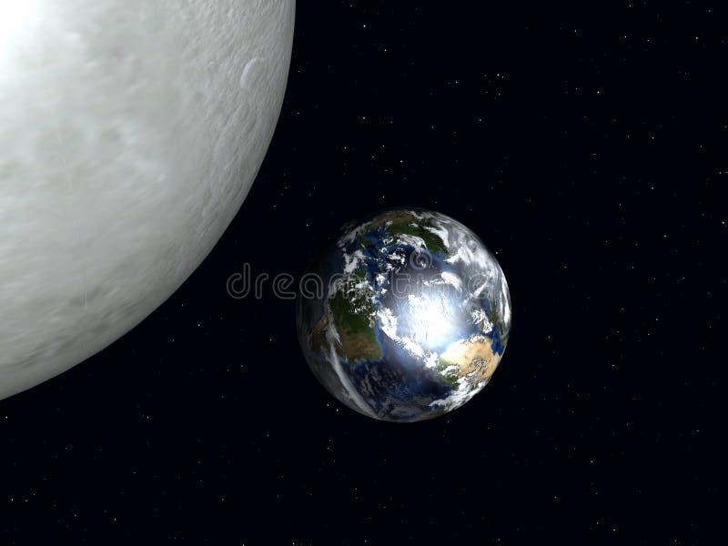 Aarde aan de Maan royalty-vrije illustratie