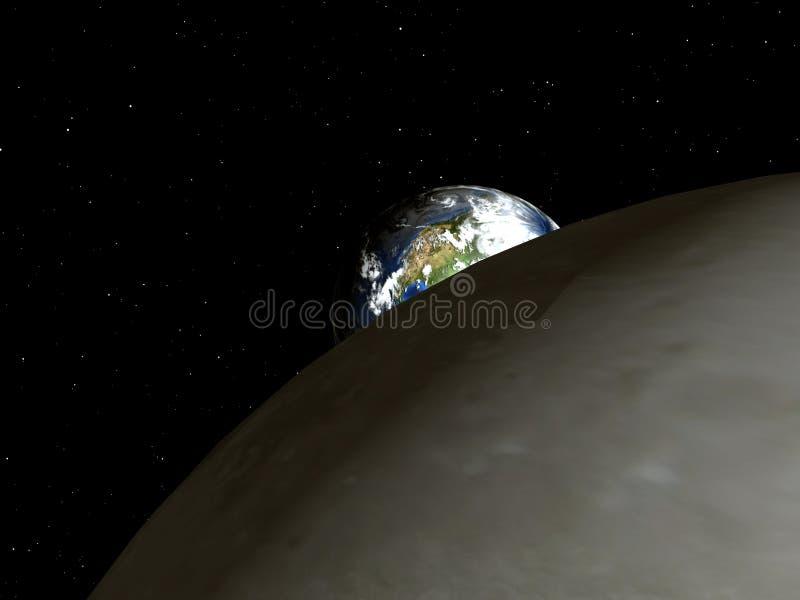 Aarde aan Maan 3 royalty-vrije illustratie