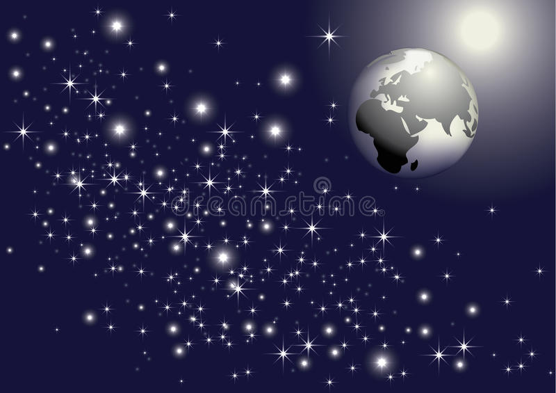 Aarde & sterren vector illustratie
