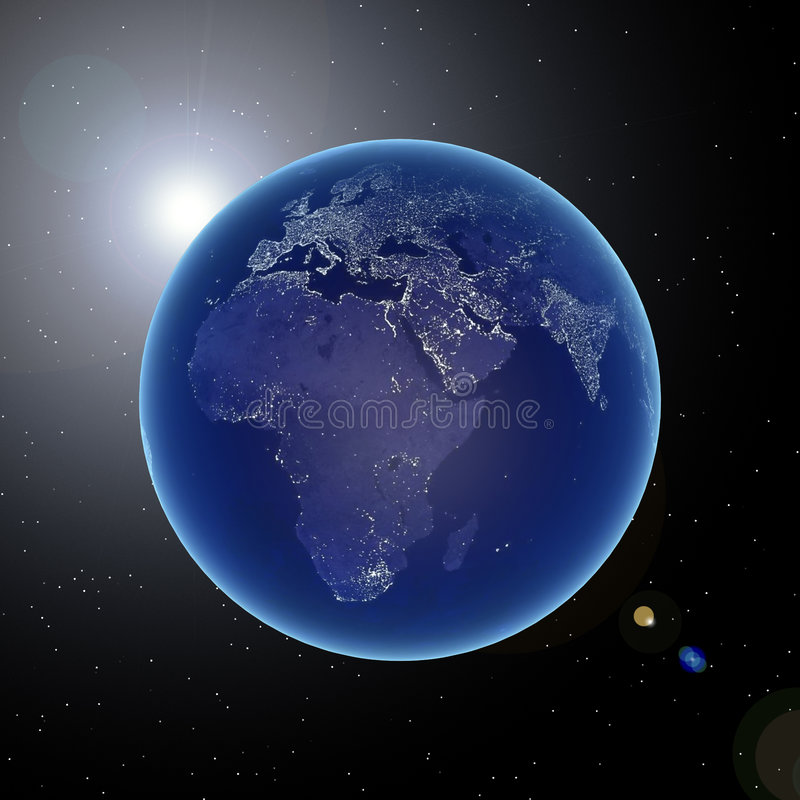 Aarde bij nacht royalty-vrije illustratie