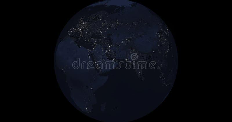 Aarde bij nacht stock afbeelding