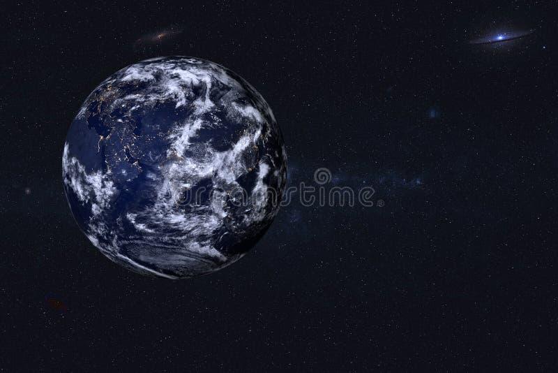 Aarde bij nacht in de ruimte stock afbeelding