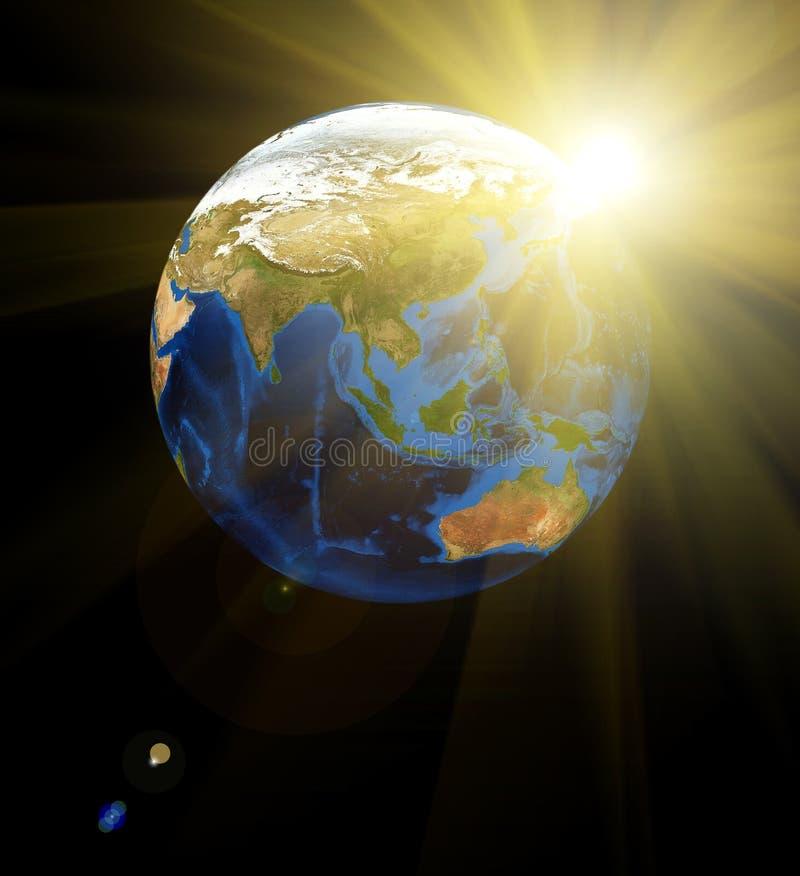 Aarde bij ruimte vector illustratie