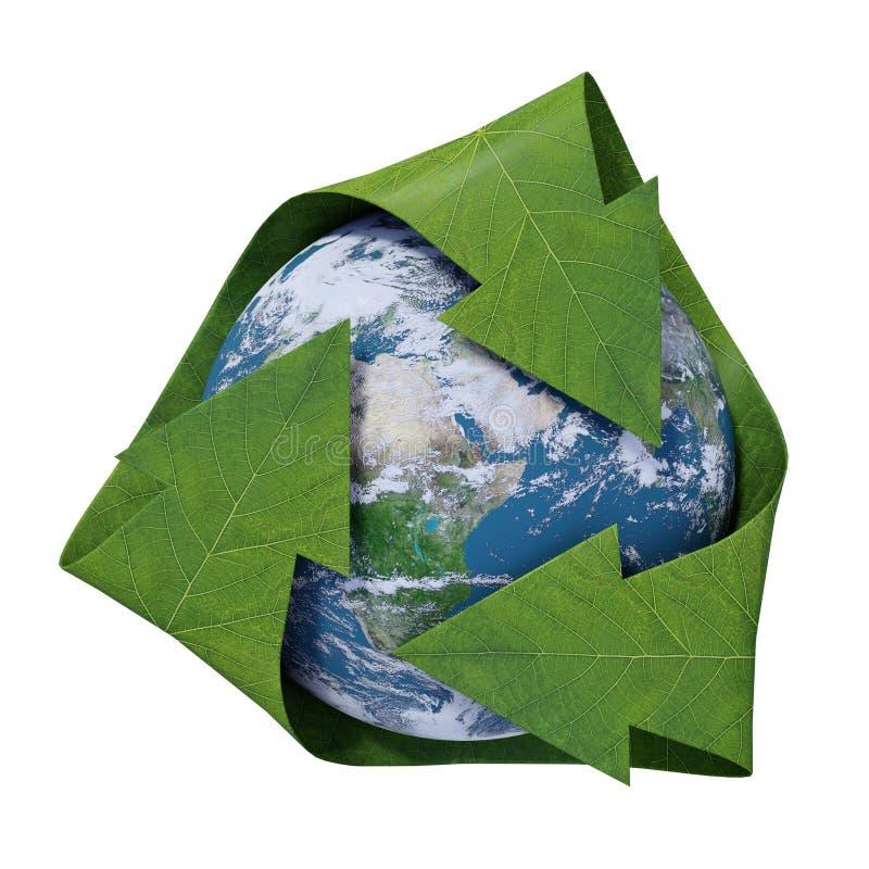 Aarde binnen een recyclingssymbool stock illustratie