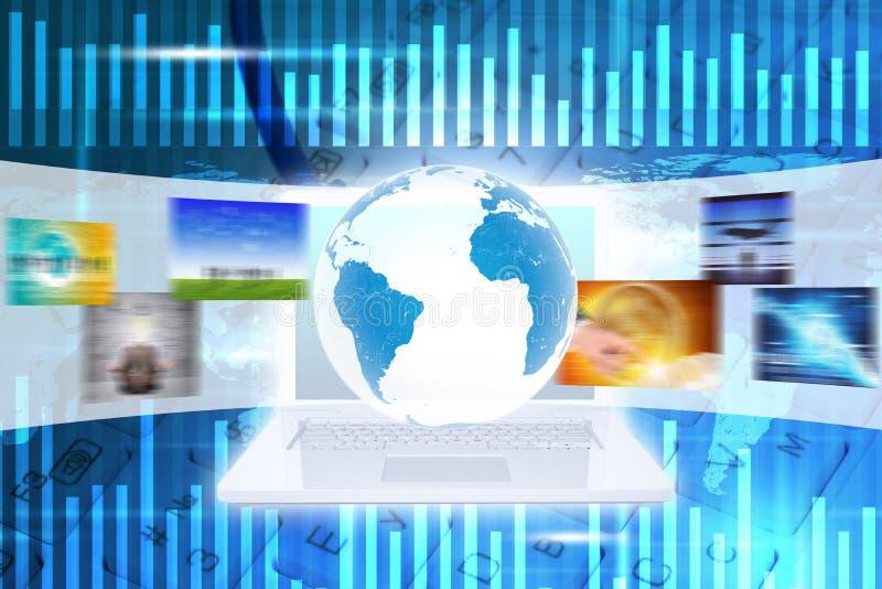 Aarde boven wit laptop en toetsenbord vector illustratie