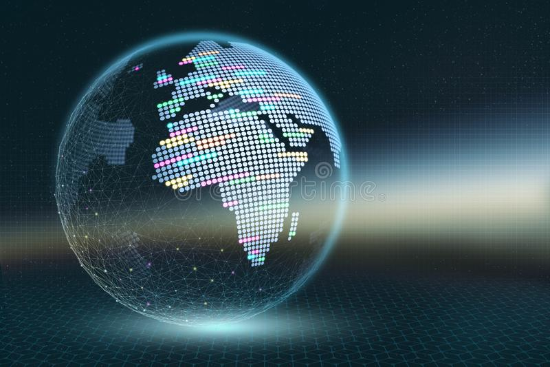 Aarde 3D illustratie Transparante pixelkaart met lichtgevende elementen op een donkere abstracte achtergrond royalty-vrije illustratie