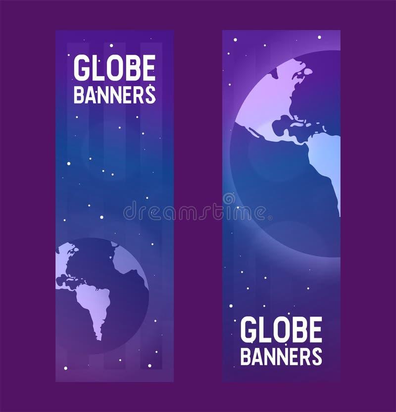 Aarde-dag van het de wereldheelal van de aardeplaneet de vector globale en de universele wereldlijke reeks wereldwijd van de boli vector illustratie