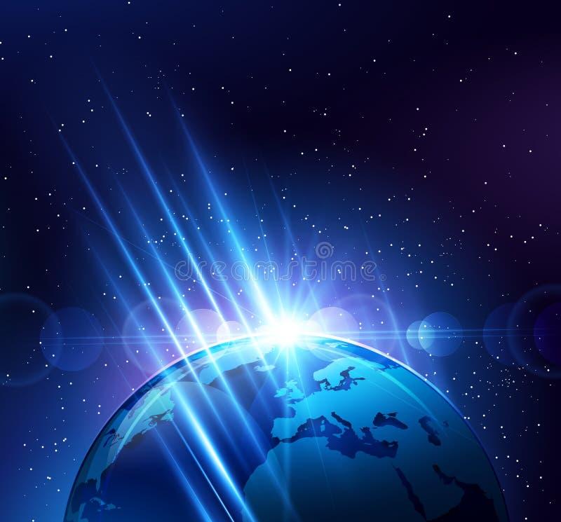 Aarde in de heldere stralen van licht