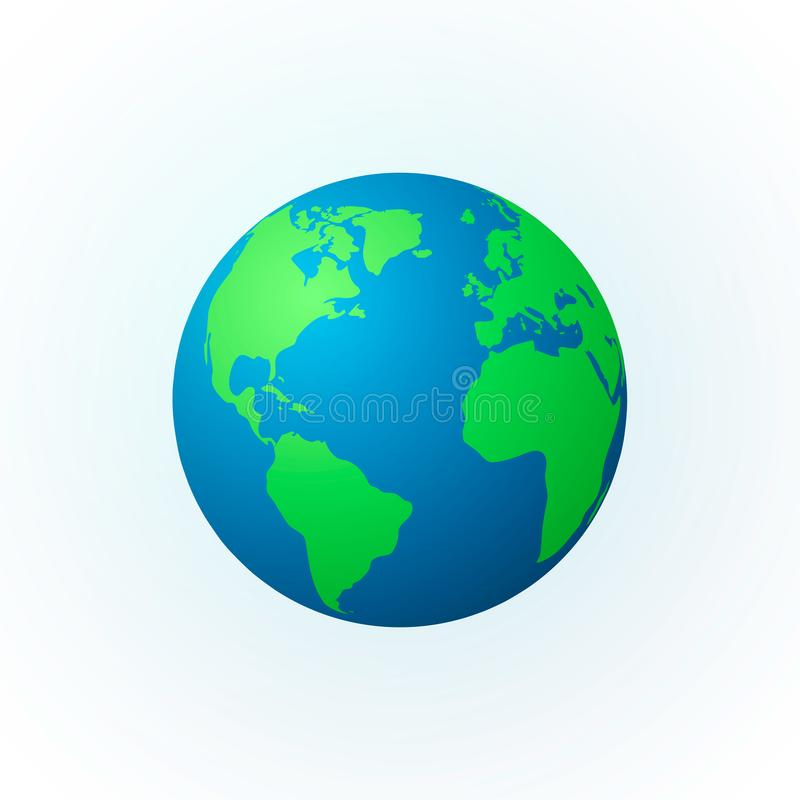 Aarde in de vorm van een bol Het pictogram van de aardeplaneet Gedetailleerde gekleurde wereldkaart Vector illustratie die op wit stock illustratie