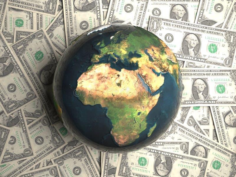 Aarde die op geld ligt vector illustratie