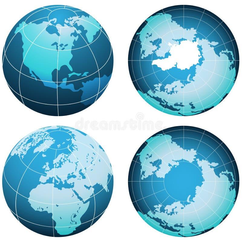 Aarde die op wit wordt geplaatst vector illustratie