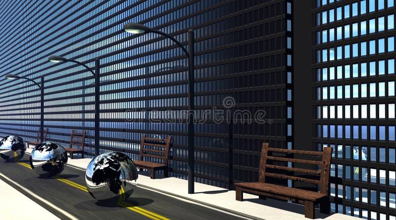 Aarde die voor bedrijfsgebouwen overgaat vector illustratie