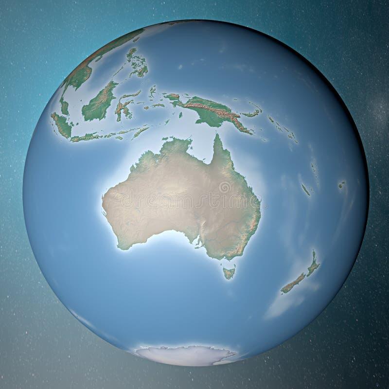 Aarde die zich op schoon ruimteoceanië bevinden vector illustratie