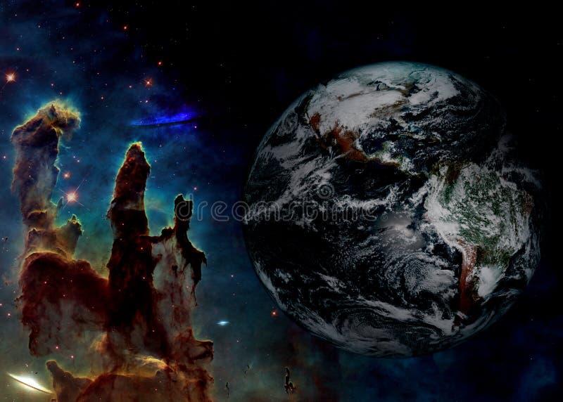 Aarde in diepe ruimte dichtbij pijler van verwezenlijkingsachtergrond Elementen van dit die beeld door NASA wordt geleverd stock illustratie