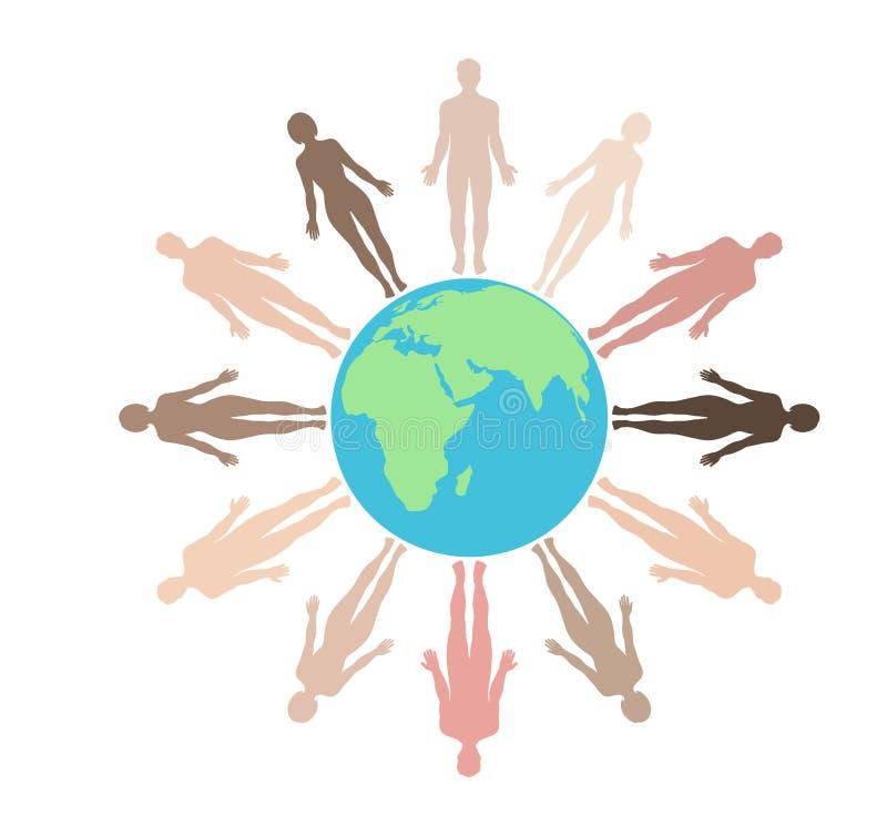 Aarde door mensen wordt omringd die Conceptuele sociaal netwerkenmensen met bol royalty-vrije illustratie