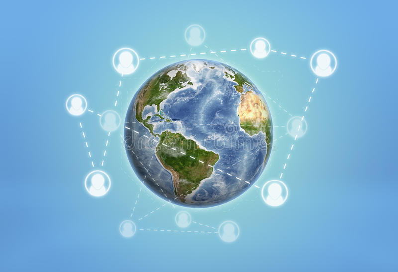 Aarde door sociale die netwerkpictogrammen wordt aan gestippelde lijnen worden verbonden gewikkeld die stock afbeeldingen