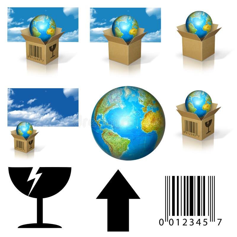 Aarde in doos stock illustratie