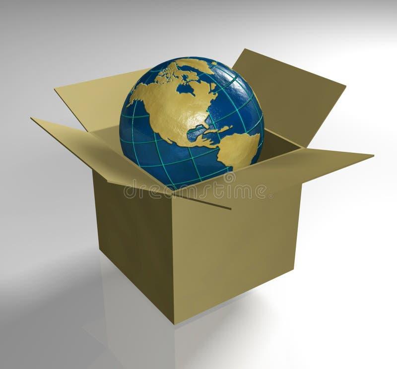 Aarde in doos royalty-vrije illustratie