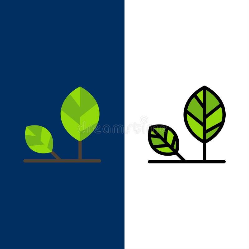 Aarde, Eco, Milieu, Blad, Aardpictogrammen Vlak en Lijn vulde Pictogram Vastgestelde Vector Blauwe Achtergrond royalty-vrije illustratie
