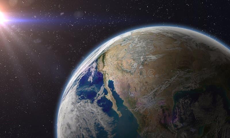 Aarde in een kosmische ruimte royalty-vrije illustratie
