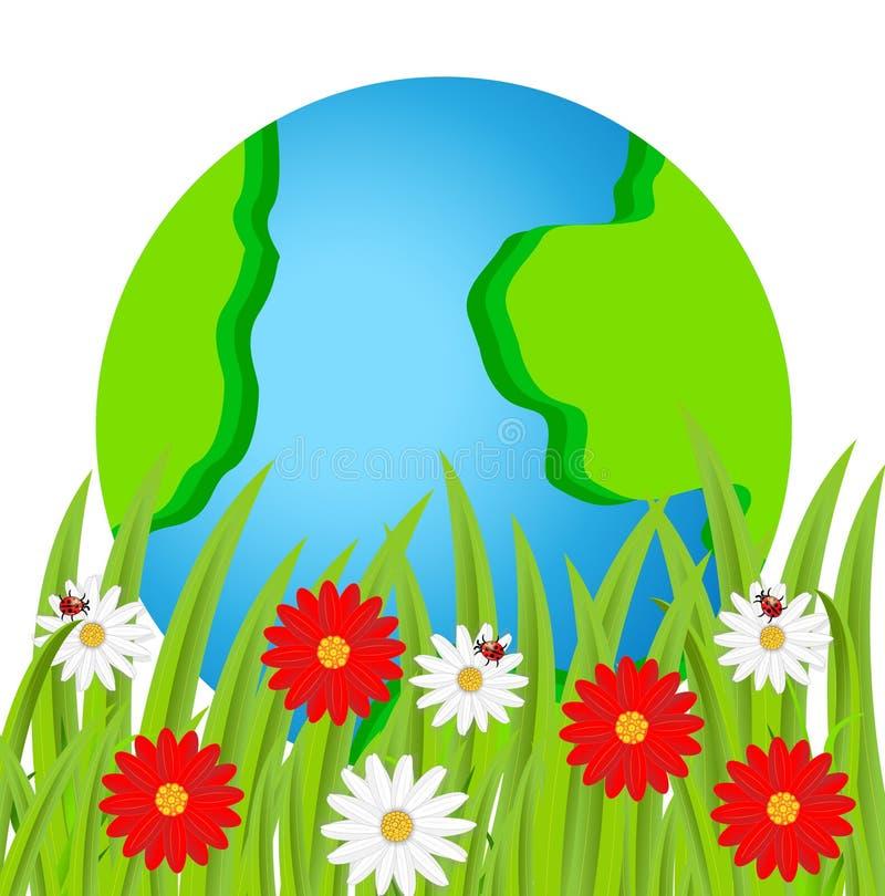 Aarde en bloemen op een witte achtergrond vector illustratie