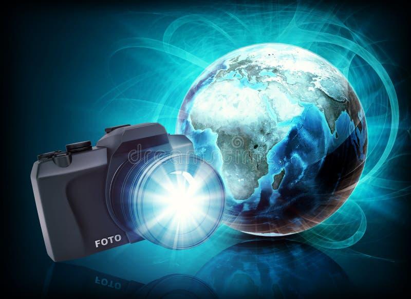 Aarde en camera in nevel op abstracte achtergrond stock illustratie