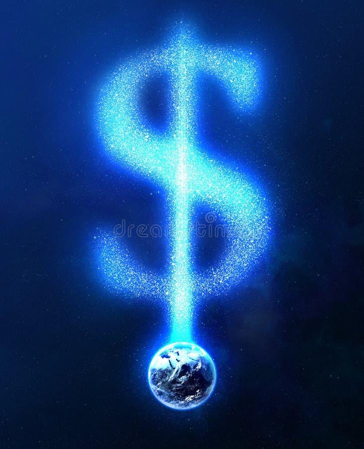 Aarde en dollarteken van sterren royalty-vrije illustratie