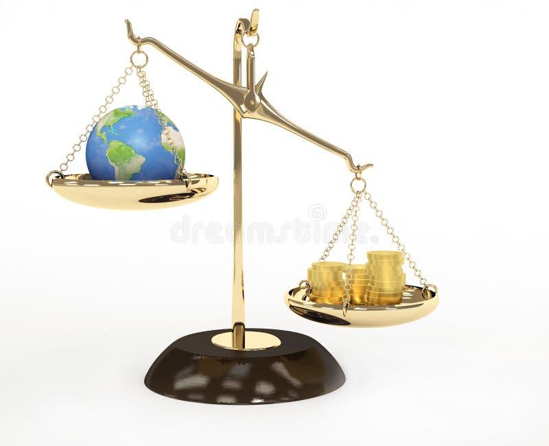 Aarde en geld stock illustratie