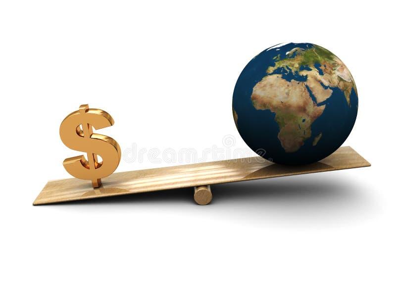 Aarde en geld vector illustratie