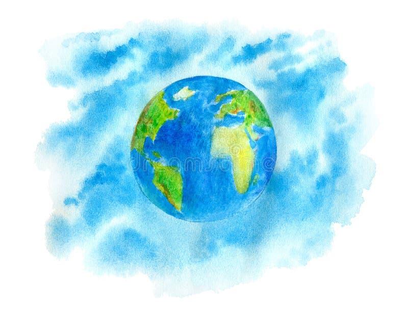 Aarde en hemel De kaart van de wereld stock illustratie