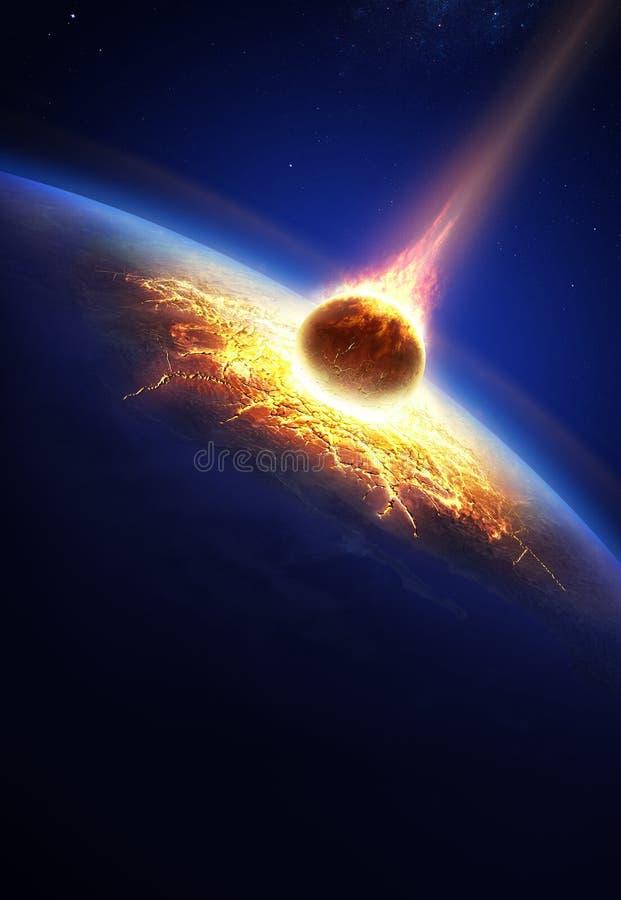 Aarde en het stervormige in botsing komen stock illustratie