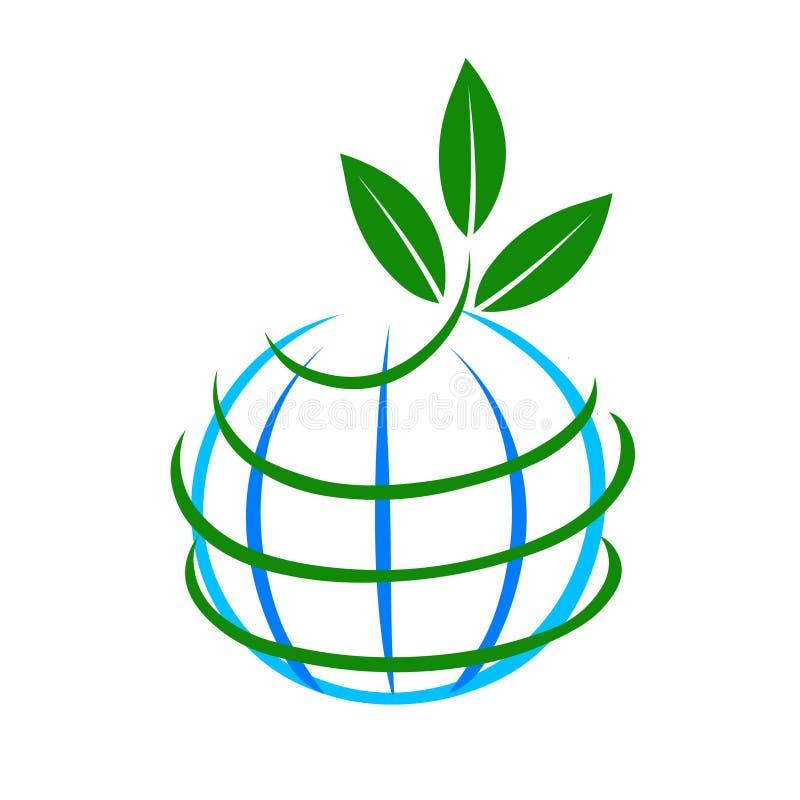 Aarde en installatie het vectorpictogram van het illustratieembleem Eco vriendschappelijk embleem vector illustratie
