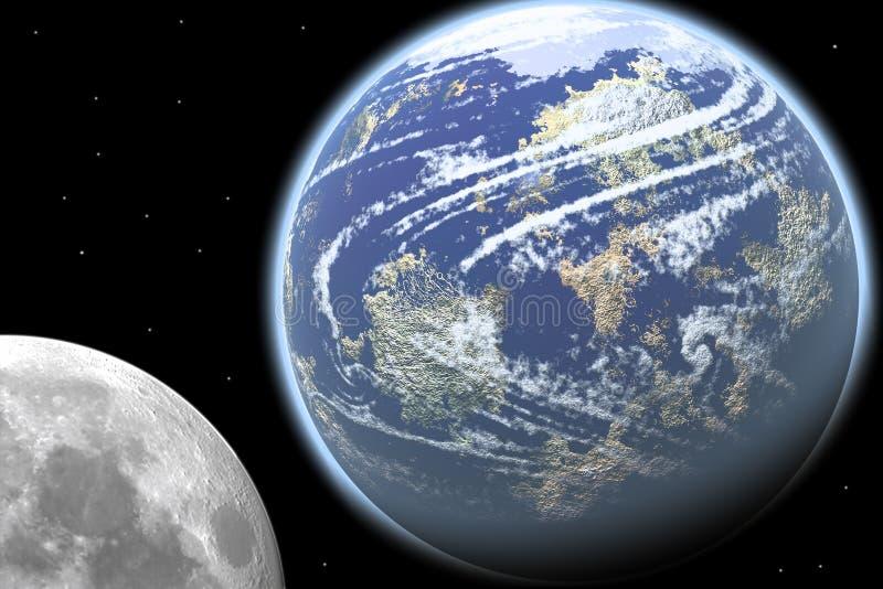 Aarde en Maan vector illustratie