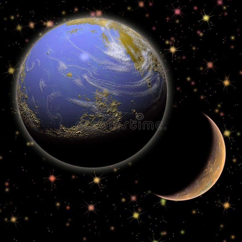 Aarde en maan en sterren royalty-vrije stock fotografie