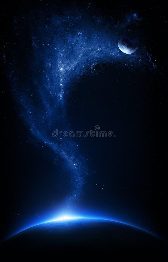 Aarde en maan met starfield onderling die wordt verbonden die royalty-vrije illustratie