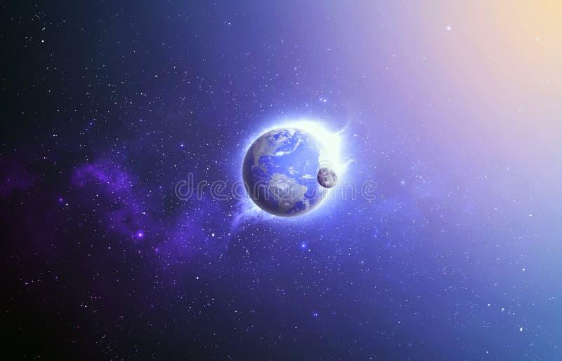 Aarde en maan in ruimte. royalty-vrije stock afbeelding