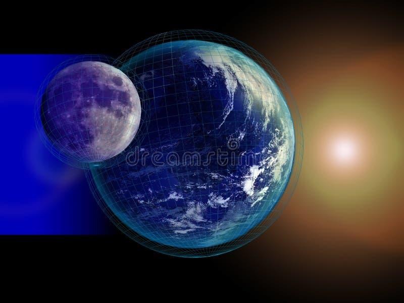 Aarde en Maankaart royalty-vrije illustratie
