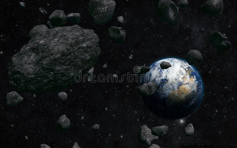 Aarde en meteoriet stock illustratie