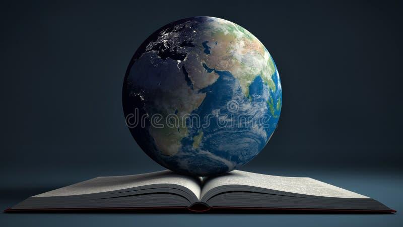 Aarde en open boek E-lerend van onderwijsinternet concept royalty-vrije illustratie