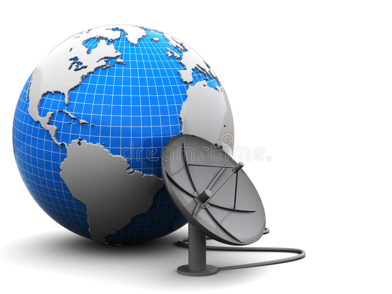 Aarde en radio-antenne stock illustratie
