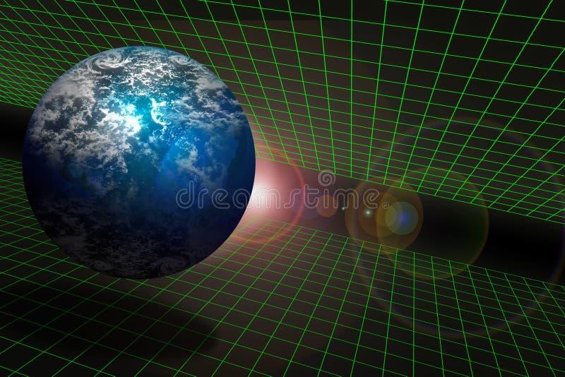 Aarde en Ruimte op een net royalty-vrije illustratie