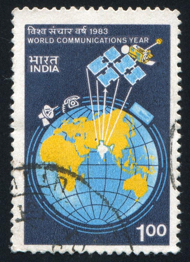 Aarde en satelliet stock afbeelding