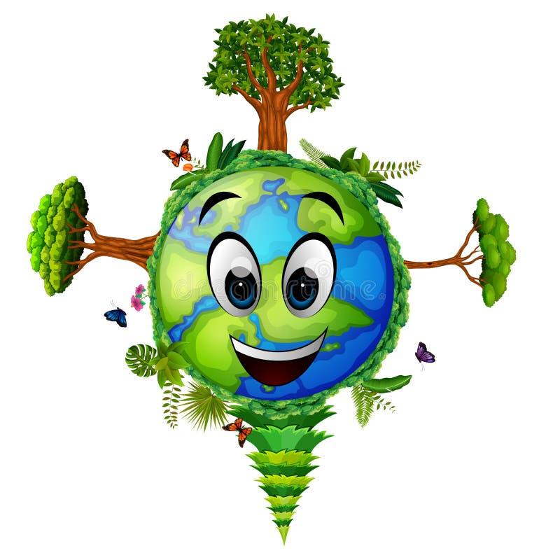 Aarde en vele groene bomen stock illustratie