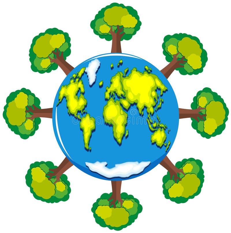 Aarde en vele groene bomen vector illustratie